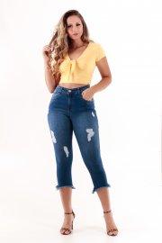 Imagem - Calça Jeans Feminina Cropped