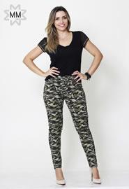 Imagem - Calca Skinny Camuflada Verde Militar Feminina