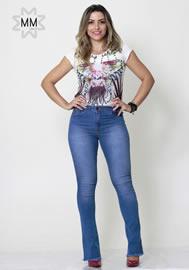 Imagem - Calca Flare Feminina Azul Jeans