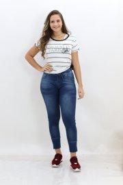 Imagem - Calça Feminina Jeans Jogging com Amarração Black Jeans