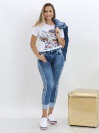 Imagem - Calca Jeans Feminina Com Punho
