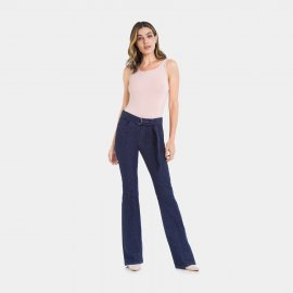 Imagem - Calça Jeans Feminina Flare Lunender com Cinto