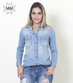 eef488783 Imagem - Camisa Feminina jeans delavê