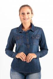 Imagem - Camisa Feminina Jeans Manga Longa Bolsos Frontais