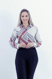 Imagem - Camisa Feminina Social Crepe Manga Longa Estampada