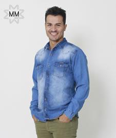Imagem - Camisa MM Concept Manga Longa Jeans Lavado