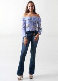 Imagem - Camisa Feminina Estampada Ombro a Ombro