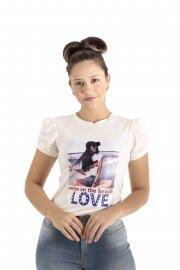 Imagem - Camiseta Feminina Manga Bufante com Aplicação