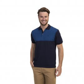 Imagem - Camiseta Polo Masculina Bicolor