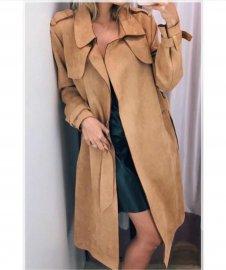 Imagem - Trench Coat Casaco Sobretudo Feminino Suede