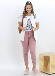 Imagem - Maxi Colete Jeans Bordado Feminino