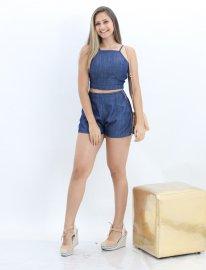 Imagem - Conjunto Feminino Jeans Cropped e Short