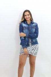 Imagem - Jaqueta Feminina Jeans Destroyed Barra Desfiada