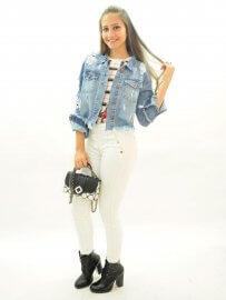 Imagem - Jaqueta Jeans Feminina Assimétrica