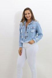 Imagem - Jaqueta Jeans Feminina Assimétrica Destroyed