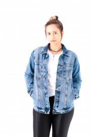 Imagem - Jaqueta Jeans Feminina com Bolsos