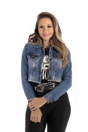 Imagem - Jaqueta Cropped Jeans Feminina Destroyed