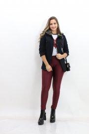 Imagem - Jaqueta Preta Feminina Jeans com Gola de Pelos