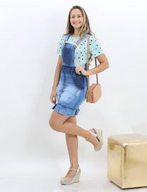 Imagem - Jardineira Jeans Feminina Moda Evangelica Com Babado