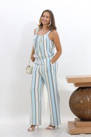Imagem - Macacão Azul Pantalona Listrado Alças Finas