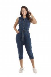 Imagem - Macacão Feminino Jeans com Amarração Black Jeans