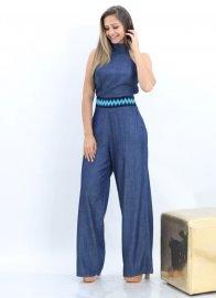 Imagem - Macacao Jeans feminino Pantalona Bordado