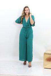 Imagem - Macacão Pantalona Decote V com Amarração na Cintura