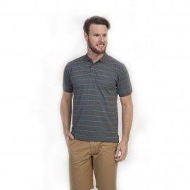 Imagem - Camiseta Polo Masculina com Listras Oracon