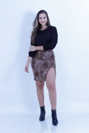 Imagem - Saia Animal Print Secretaria com Fenda Lateral Chess