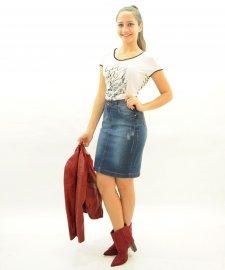 Imagem - Saia Jeans Feminina Moda Evangélica
