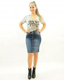Imagem - Saia Jeans Feminina Lápis Moda Evangélica