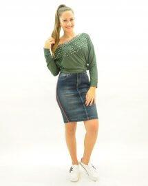 Imagem - Saia Jeans com Faixa Esportiva