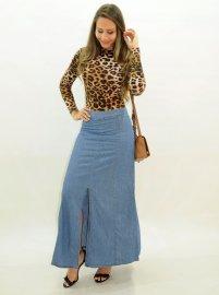 Imagem - Saia  Longa Jeans com Fenda Frontal