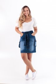 Imagem - Saia Jeans Feminina Curta Cargo