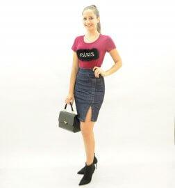 Imagem - Saia Jeans Feminina com Fenda Lateral