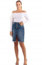 Imagem - Saia Jeans Curta feminina com Botões e Fenda