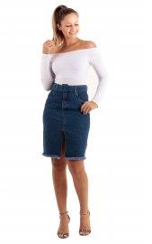 Imagem - Saia Jeans Feminina com Fenda e Cinto