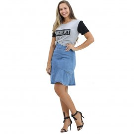 Imagem - Saia Feminina Jeans Evasê Moda Evangélica