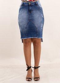 Imagem - Saia Jeans Destroyed Assimétrica com Fenda Lateral