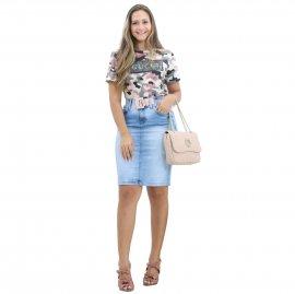 Imagem - Saia Jeans Feminina Secretaria com Elastano
