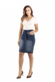 Imagem - Saia Jeans Lápis com Amarração Moda Evangélica Black Jeans