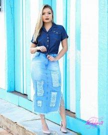 Saia Jeans Midi Destroyed Moda Evangelica
