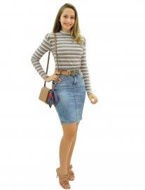 Imagem - Saia Jeans Secretaria com Strech