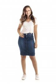 Imagem - Saia Jeans Secretaria Moda Evangélica Black Jeans
