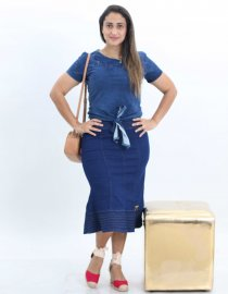 Imagem - Saia Jeans Midi Moda Evangélica