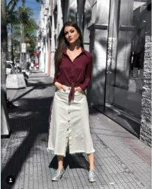 Imagem - Saia Jeans Midi com Faixa Esportiva
