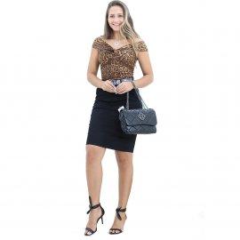 Imagem - Saia Preta Jeans Secretaria Moda Evangélica
