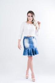 Imagem - Saia Jeans Feminina Babado com Barra Desfiada