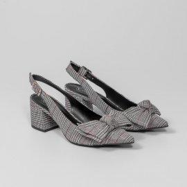 Imagem - Sapato aberto atras Xadrez Giulia Domna com Laço