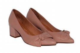 Imagem - Sapato Salto Baixo com Laço Giulia Domna de Couro